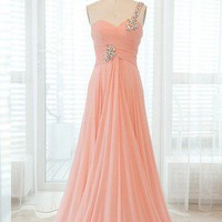WowDresses — Pearl Pink A-line One-shoulder Sweep Train Graduation Dress
