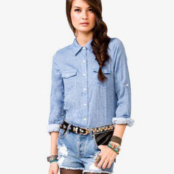 Button Pocket Chambray Shirt
