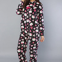 The Comfy n Cozy Heart Jumpsuit in Black : Hello Kitty Intimates : Karmaloop.com - Global Concrete Culture