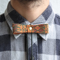 Bow Tie Bolo - Southwestern Patterned Printed Suede, Brass Ball Tips - 3 available