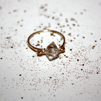 leo - herkimer diamond ring by lilla stjarna - ft. 14 karat gold - stacking ring - gifts under 50 - gold ring - rough gemstone ring