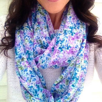Floral Spring Infinity Scarf in Purple and Blue