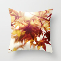 Autumn light Throw Pillow by Shilpa