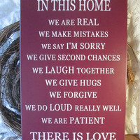 Family Wood Sign Love Painted Plaque Burgundy by CountryWorkshop