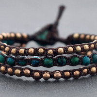 African Turquoise Rose Gold Beaded Bracelet