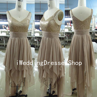 Straps Sweetheart Sequined and Chiffon Short Gold Prom Dresses, Evening Dresses, Wedding Party Dresses, Evening Gown