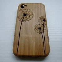 Dandelion natural bamboo hard cover case for iphone 4/4s/5