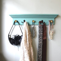 Aqua distressed Coat Rack Shelf by bluebirdheaven on Etsy