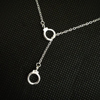 HANDCUFF LARIAT Necklace SILVER Hand Cuff Charms