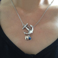 Anchor Necklace Nautical Necklace With Silver Heart charm and Bule bead Charm Beach Wedding Necklace Resort Jewelry - Sweet Anchor