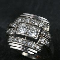 Art Deco Platinum & Diamond Plaque Ring by Ruby Gray's | Ruby Gray's Antique & Vintage Rings