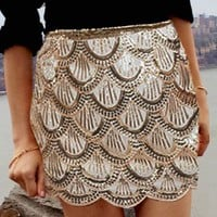 Sequin Scalloped Skirt- Sequin Skirts- $70
