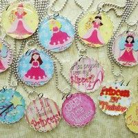 Princess Party Favors Silver Lace Tray Necklaces Birthday Girls