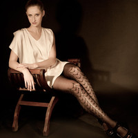 EXCLUSSIVE Hand Printed Tights - Moulin Rouge, Black on black, Flash Back collection