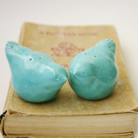 Salt & Pepper Shakers - Porcelain Birds - Robins Egg Blue - Kitchen Table Home Decor - OOAK Handmade Sculptures