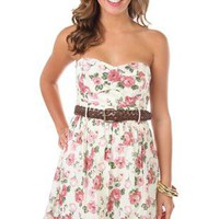 strapless embroidered rose print belted casual dress - debshops.com