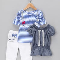 White & Blue Stripe Bow Pants Set - Infant & Toddler