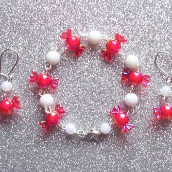 Peppermint Candy - Set of Earrings and Bracelet