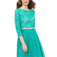 ideeli | ELIZA J Three-Quarter Sleeve Lace Dress with Pleated Skirt