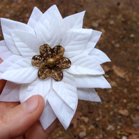 "Light Ivory Hair Flower, Vintage Gold Floral Button Hair Accessory, Diamond White Bridal Fascinator, Eco Wedding Hair - ""My Golden Rose"""
