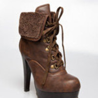 Shearling Lace-up Bootie < Sexy Shoes