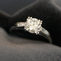 Diamond Solitaire Engagement Ring w/ Baguette Cut Shoulders by Ruby Gray&#x27;s | Ruby Gray&#x27;s Antique &amp; Vintage Rings