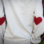 heart elbow patched sweatshirt