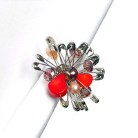 FOR HER Safety pins adjustable ring silver pink and red with freshwater pearls - one of a kind - OOAK