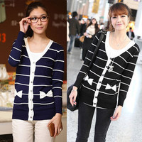 2013 spring Korean style stripe bow pocket long sleeve cardigan $11.34
