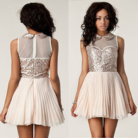 JONES AND JONES pleated chiffon ballerina mesh sequin TAMARA dress SOLD OUT!