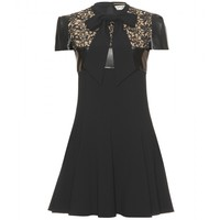 mytheresa.com -  Saint Laurent - ABITO CON PIZZO E PELLE - Luxury Fashion for Women / Designer clothing, shoes, bags