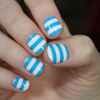 Blue &amp; White Stripe Nail Foils by FoilJunkieNailWraps on Etsy