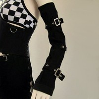 Black and Metal Arm Warmers Gloves with Straps by aNGrYGiRLGear