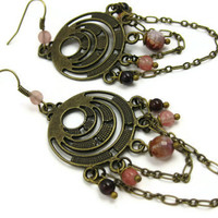Pink Chandelier Earrings Brass and Garnet Agate by LeafAndTendril