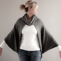 Grey Cowl Neck Oversized Cardigan Sweater Cocoon by MoonHalo