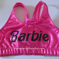Bar Bar  Metallic Sports Bra Pink/Black Cheerleading