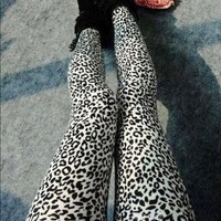 Amazon.com: ECOSCO Women Popular Full Leopard Print Animal Pattern Ankle Length Footless Legging Tregging Tight Pant One Size Black+White: Arts, Crafts & Sewing