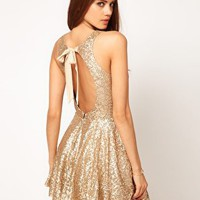 TFNC Sequin Dress with Open Back &amp; Full Layered Prom Skirt at asos.com