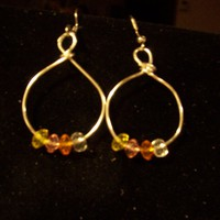 Multibead silver Hoops