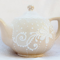 Teapot set with cream shabby chic style by Dprintsclayful on Etsy