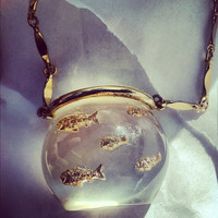 Lucite Fishbowl Necklace Castlecliff Harice Simmons by JezzyBelles
