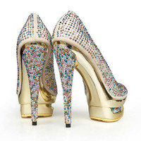 Colorful Diamond Platform Pumps [TWL0412010] - &amp;#36;88.99 : wedding fashion, wedding dress, bridal dresses, wedding shoes