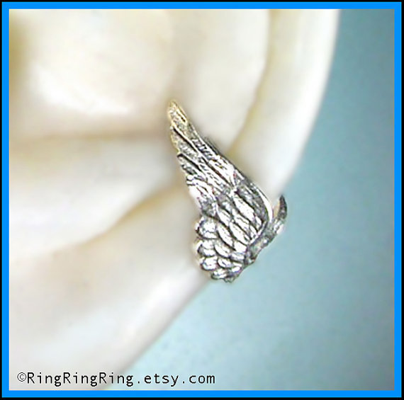 Tiny silver Angel wing ear cuff earring jewelry