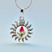 Real Rose Sterling Silver Resin Necklace Real Flower Resin Jewelry