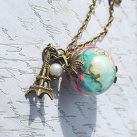 Shabby Chic Style Necklace 01  Resin Jewelry Paris Spring Vintage Large Bead Necklace Cherry Blossom Flower Pink Turquoise Pearl Nostalgic