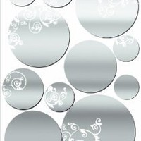 Amazon.com: Lot 26 Studio ADD-HERES Adhesive Reflections-Mirror Patterned Dots Wall Stickers, 10.25 x 15-Inches: Home & Kitchen