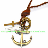Anchor leather necklace with bronze anchor ,brown leather ,two Copper ring ,cross for men or women Pendant necklace  d-37