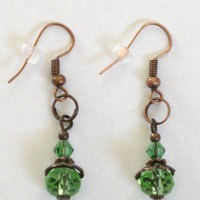 Copper Fish Hook Style Dangle Earrings with Light Green Glass Beads