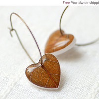 Fall leaf earrings - Autumn jewelry (E089)