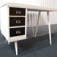 MID CENTURY MODERN BLACK & WHITE DESK MCCOBB danish office